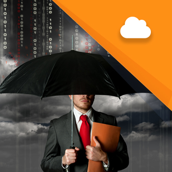 Business man holding an umbrella under rain of data with folder under his arm - Cloud Computing